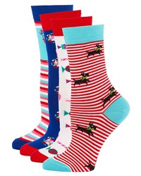 Neiman Marcus 4 Pack Holiday Motif Sock Set Holiday Multi