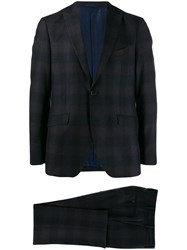 Etro Traditional Check Suit Blue