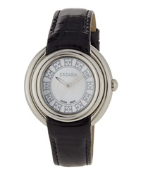 Escada Croc Embossed Leather Two Hand Ivory Watch Black