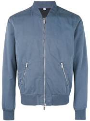 Hardy Amies Bomber Jacket Silk Cotton M Blue
