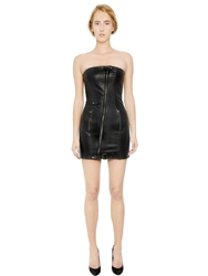 Pierre Balmain Strapless Nappa Leather Bustier Dress Black
