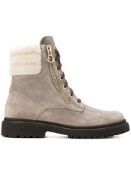 Moncler Patty Shearling Boots Women Leather Rubber 39 Grey