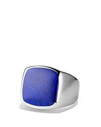 David Yurman Exotic Stone Signet Ring With Lapis Lazuli Silver Blue