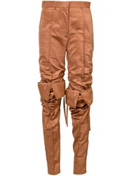 Y Project High Waisted Track Pants Women Cotton Polyester 40 Brown