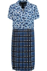 Marc By Marc Jacobs Pleated Printed Crepe De Chine Shirt Dress Blue