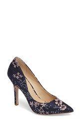 Charles By Charles David Women's Maxx Pointy Toe Pump Navy Floral Embroidery