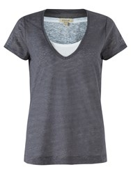 Jigsaw Double Layer Linen T Shirt Indigo