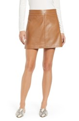 Cupcakes And Cashmere Marrie Leather Miniskirt Dark Camel