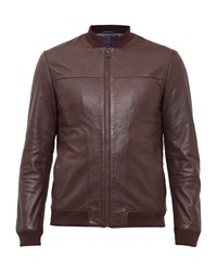 Ted Baker Action Leather Bomber Jacket Dark Red