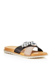 Charles David Pella Jeweled Crisscross Slide Sandals Black Grey