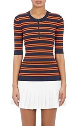 Tory Sport Women's Striped Tech Knit Ribbed Sweater Navy