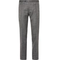 Thom Sweeney Grey Slim Fit Wool Silk And Linen Blend Trousers Gray