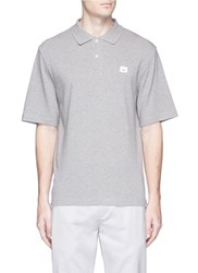Acne Studios 'Falco Face' Embroidered Patch Polo Shirt Grey