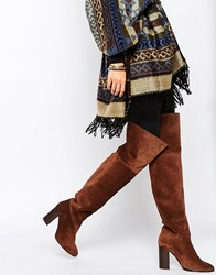 Mango Suede Over The Knee Boot Brown