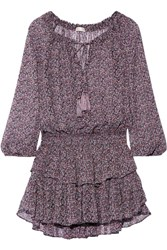 Loveshackfancy Popover Floral Print Silk Georgette Mini Dress Purple