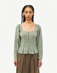 Farrow Alexandra Button Up Top In Sage Size Small