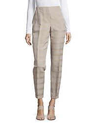 Akris Frank Light Plaid Pants Medium Grey