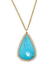 Irene Neuwirth Diamond Turquoise And Pearl Pendant Necklace Blue