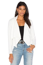 Bobi Knit Boucle Long Sleeve Front Draped Blazer White