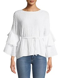 Laundry By Shelli Segal Tiered Ruffle Sleeve Tie Waist Blouse White