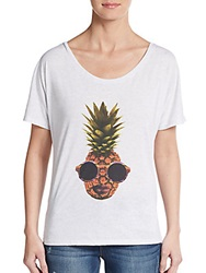 Crooked Monkey Pineapple Dolman Tee White