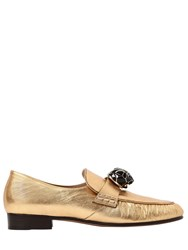 Valentino 20Mm Panther Metallic Leather Loafers
