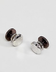 Ted Baker Liftit Reversible Cufflinks In Brown Gold