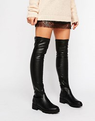 Truffle Collection Kiley Over The Knee Boot Black Pu
