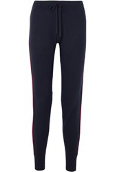 Madeleine Thompson Eagle Striped Cashmere Track Pants Midnight Blue