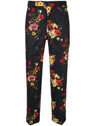 Loveless Floral Print Cropped Trousers Black