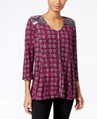 Styleandco. Style Co. Petite Printed Peasant Blouse Only At Macy's Femme Tribal Ruby