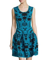 Marchesa Voyage Knit Floral Sleeveless Tank Dress Black Teal