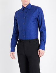 Duchamp Paisley Patterned Tailored Fit Cotton Shirt Navy