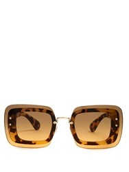 Miu Miu Reveal Rectangle Frame Sunglasses Tortoiseshell