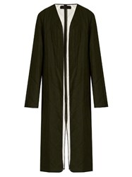 Haider Ackermann Proud Collarless Quilted Wool Coat Khaki