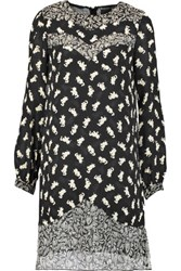 Anna Sui Shadow Cats Printed Silk Chiffon Paneled Georgette Mini Dress Black