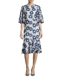 Co Embroidered Floral Lace Flared Sleeve Flounce Dress Blue