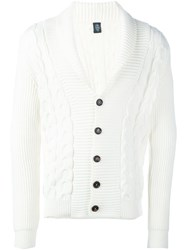 Eleventy Cable Knit Cardigan White