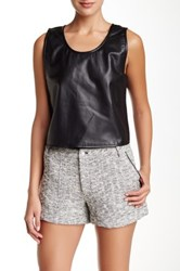 Rebecca Minkoff Sleeveless Leather Oasis Blouse Black