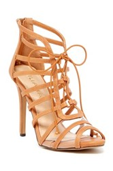 Liliana Zia Lace Up Heeled Sandal Brown