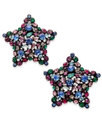 Kate Spade New York Black Tone Crystal Star Stud Earrings Multi