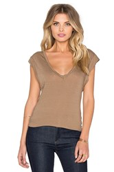 Pam And Gela V Neck Muscle Tee Brown