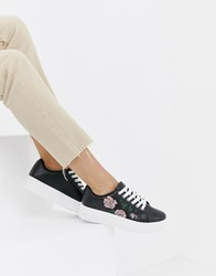 Park Lane Flat Form Embroidered Trainers Black