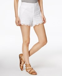 Maison Jules Cotton Eyelet Trim Shorts Only At Macy's Bright White