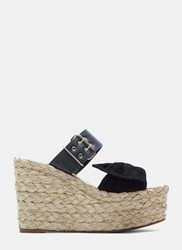 Valentino Suede Bow Woven Raffia Wedge Sandals Black