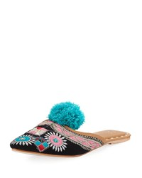 Figue Embroidered Pompom Flat Mule Slide Dark Blue