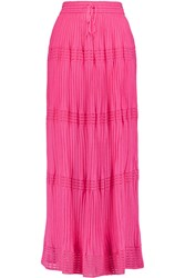 M Missoni Crochet Knit Cotton Blend Maxi Skirt Pink