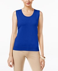 August Silk Scoop Neck Shell Cobalt