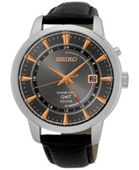 Seiko Men's Automatic Kinetic Gmt Black Leather Strap Watch 44Mm Sun063 No Color