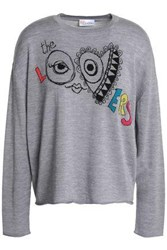 Red Valentino Jacquard Knit Wool Silk And Cashmere Blend Sweater Gray